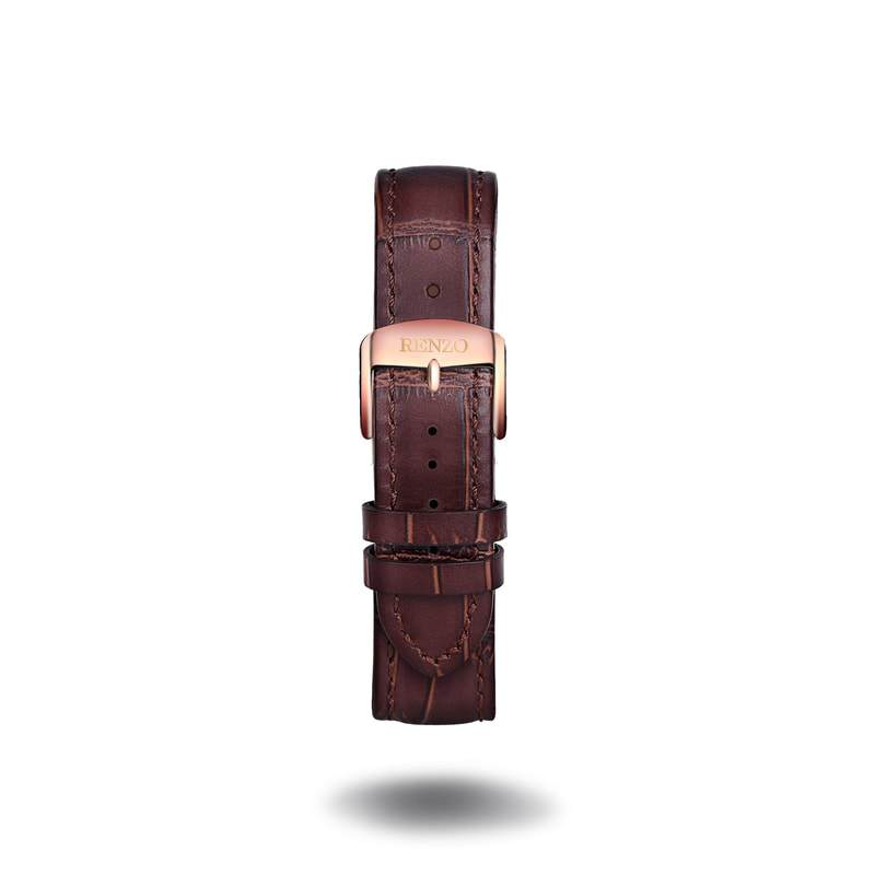 Strap - Croco Brown Rose Gold Strap
