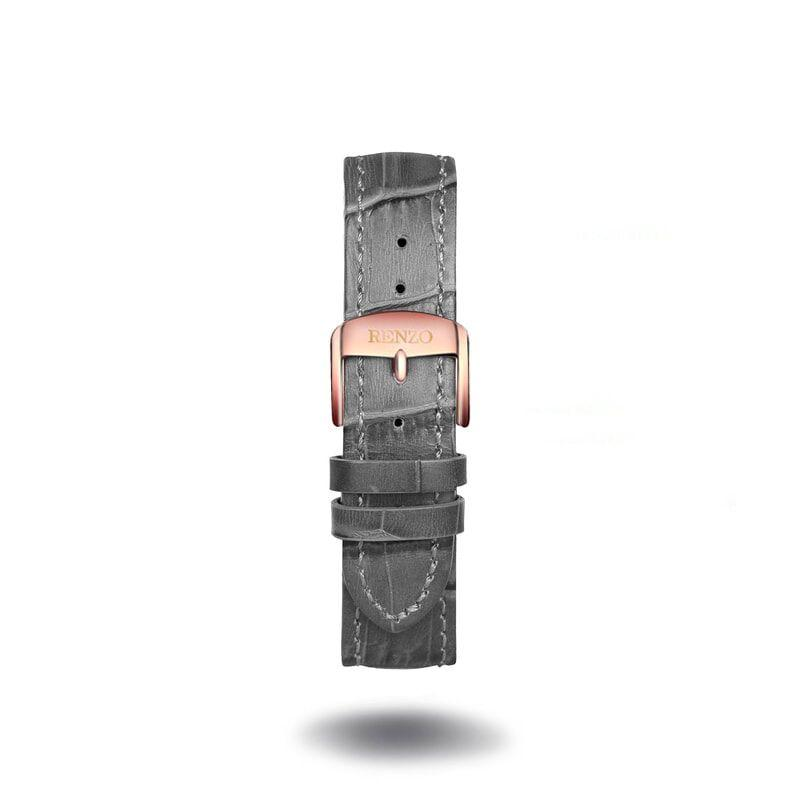 Strap - Croco Grey Rose Gold Strap