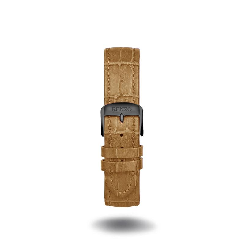 Strap - Croco Tan Black Strap