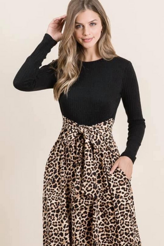 Animal Print Contrast Midi Dress