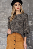 Animal Print Long Sleeve Blouse (Black)