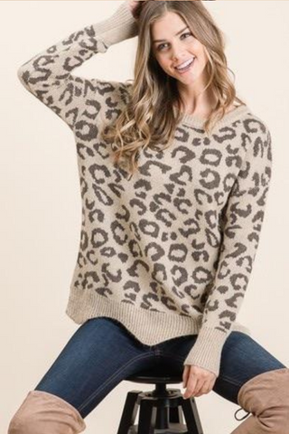 Animal Print Soft Knit Sweater, Taupe