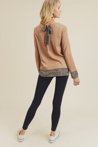 Animal Print Contrast Top with Back Bow (Camel)