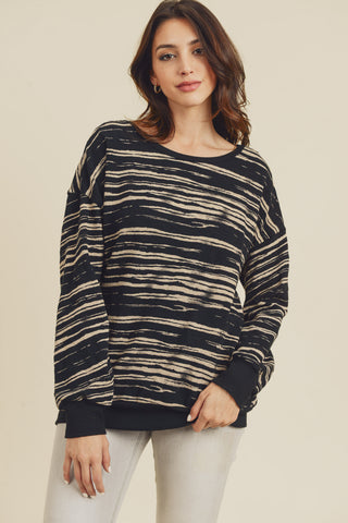 Animal Print Pullover with Band (Black)