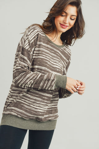 Animal Print Pullover with Band (Grey)
