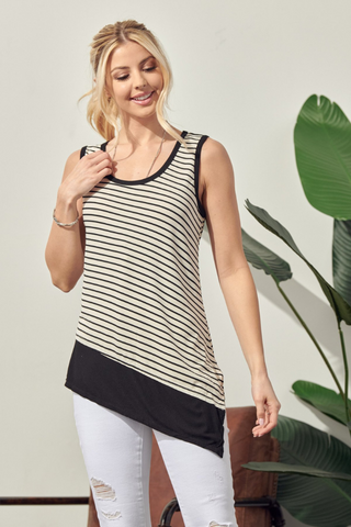 Asymmetrical Stripe Top (Oatmeal/Black)