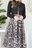 Black Animal Print Midi Dress
