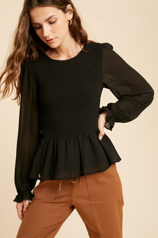 Black Smocked Ruffle Chiffon Blouse