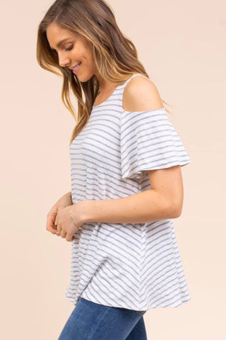 Cold Shoulder Striped Shift Top grey white