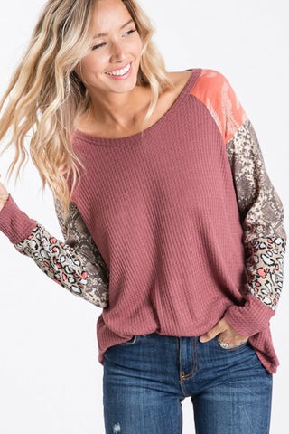 Color Block Raglan Sleeve Top (Marsala)