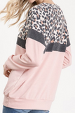 Color Block Leopard Print Top (Blush/Charcoal)