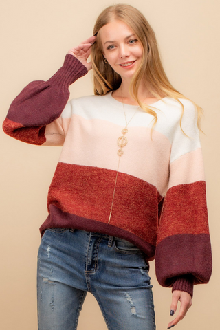 ColorBlockSweater With Balloon Sleeve Rose