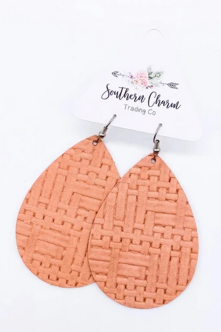 coral basketweave leather earrings