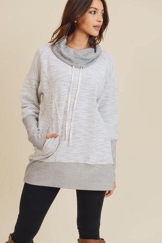Cowl Neck Tunic with Pockets (Grey)
