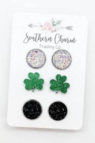 Crystal & Glitter Shamrock Stud Earrings Set