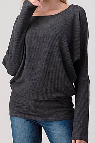 Dark Charcoal Ribbed Top