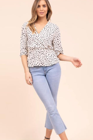 dot peplum blouse ivory black