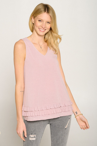 Double Frill Sleeveless V-Neck Top (Dusty Lavender)