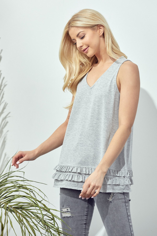 Double Frill Sleeveless V-Neck Top (Heather Grey)