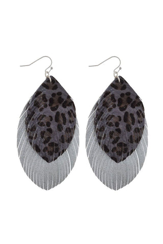 Faux Fur Leopard Feather Earrings (Silver/Grey)