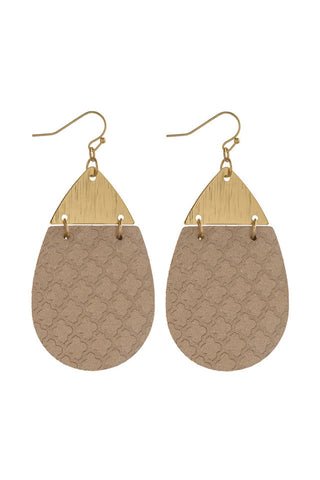 Faux Leather Geometric Earrings (Rose Gold)