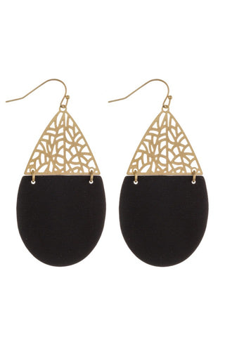 Filigree & Faux Leather Earrings (Gold)