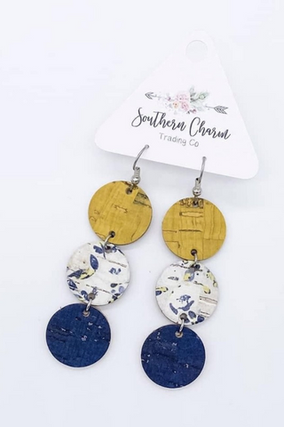 Floral Triple Cork Earrings (Yellow/Navy)