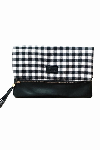 Fold Over Clutch black white buffalo check