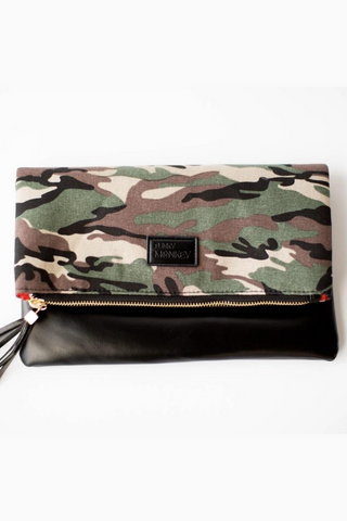 Fold Over Clutch  camo black red