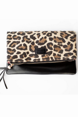 Fold Over Clutch leopard black burgundy