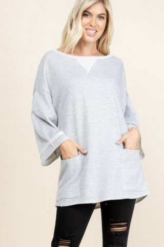 French Terry Boatneck Top (Heather Grey)