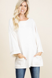 French Terry Boatneck Top (Oatmeal)