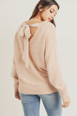 Fuzzy Sweater with Back Bow (Light Pink)