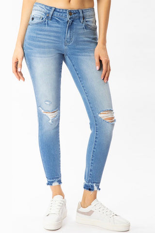 kancan mid rise ankle skinny jean