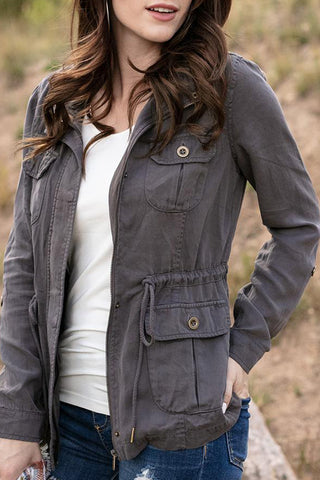 grace and lace cargo jacket grey