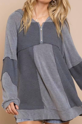 Grey Color Block Hoodie