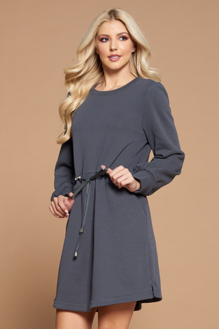 Grey Drawstring Sweater Dress