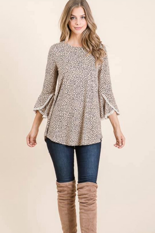 Jewel Neckline Lace Trim Top taupe