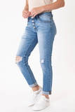 KanCan Mid Rise Distressed Girlfriend Jean side