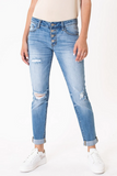 KanCan Mid Rise Distressed Girlfriend Jean front