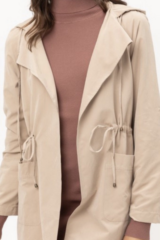 khaki draped hooded jacket