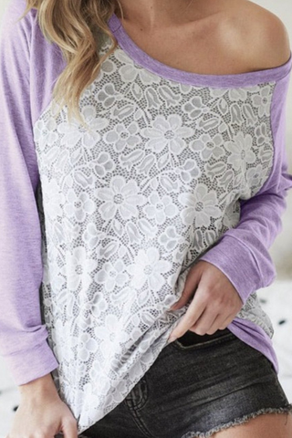 Lavender Flower Long Sleeve Top