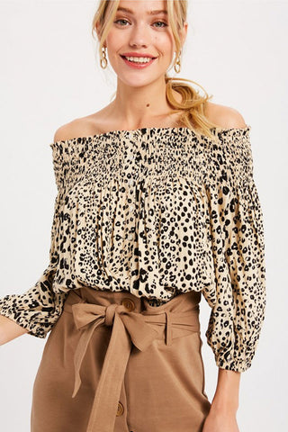 Leopard Off-Shoulder Blouse (Taupe)