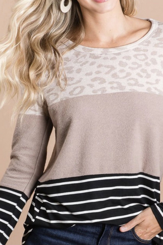 Leopard Striped Color Block Top
