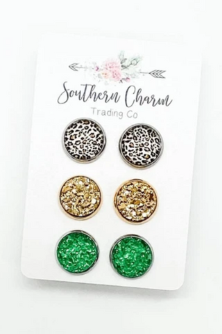 Leopard, Gold & Green Stud Earrings Set