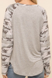 Long Camo Sleeve Top (Grey)