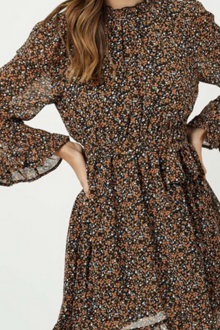 Long Sleeve Belted Smock Neck Floral Dress (Black)