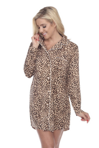 Long Sleeve Nightgown (Cheetah)