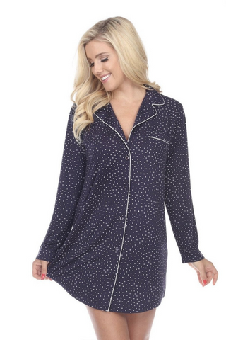 Long Sleeve Nightgown (Navy)