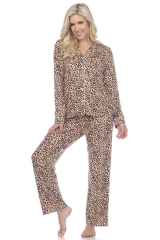 Long Sleeve Pajama Set (Cheetah)